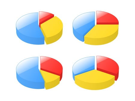 exploded: Set of 3d exploded pie charts.  illustration.