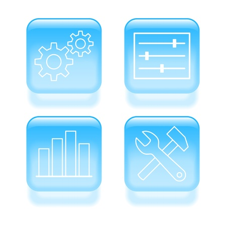 Glassy system settings icons. illustration. Stock Vector - 19468121