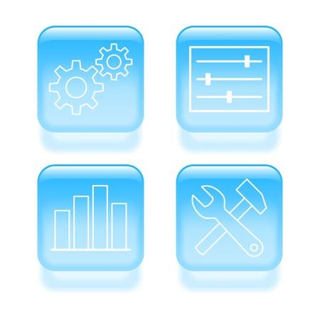 Glazige systeeminstellingen iconen. illustratie. Stock Illustratie