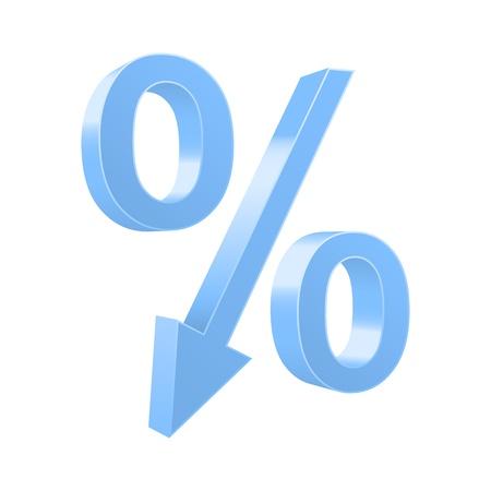 Dropping procent symbool. illustratie.