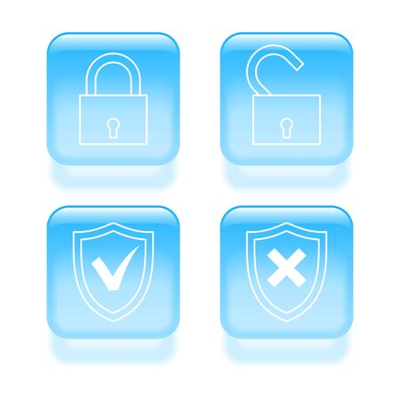 Glassy protection icons.  illustration. Stock Vector - 19468120