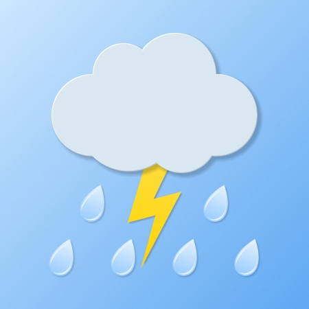 Weather icons. Rain and lightning illustration.