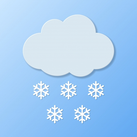 paper cut out: Weather icons. Snowy weather. Vector illustration.