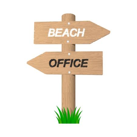Vacation wooden sign. Vector illustration. Stock Vector - 20852981