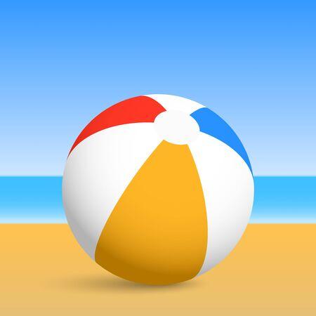 inflatable ball: Beach ball. Vector illustration.