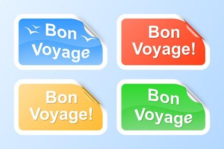 bon: Bon Voyage labels. Vector illustration.