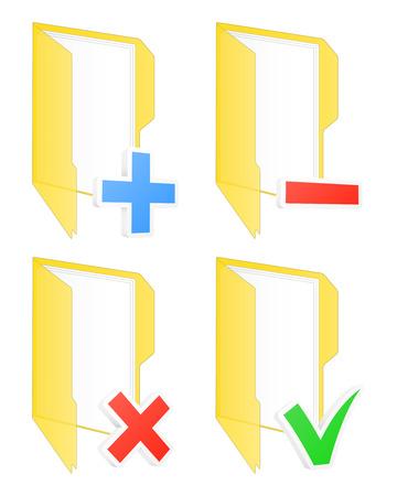 Checkbox folder icons illustration. Illustration