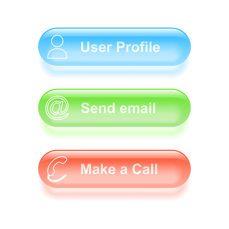 User profile glassy buttons illustration. Vector