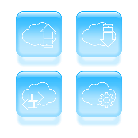 Glassy cloud icons. Vector illustration. Vector