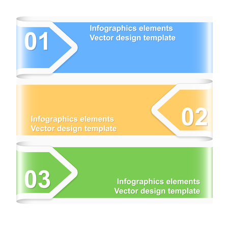 chapter: Numbered arrow banners. Infographics elements. Vector illustration.