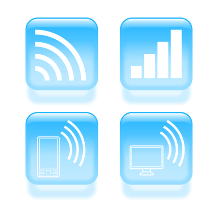 Glassy wireless communications icons. Vector illustration. Stock Vector - 22552501