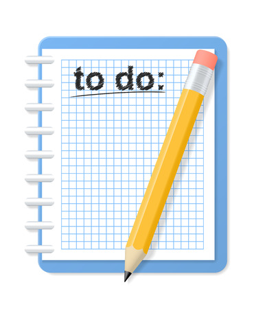 assignment: Checkered notebook and pencil. To do list. Vector illustration. Illustration