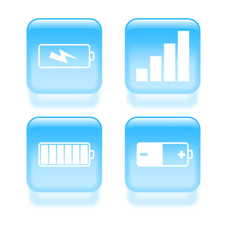 cell charger: Glassy power icons. Vector illustration.