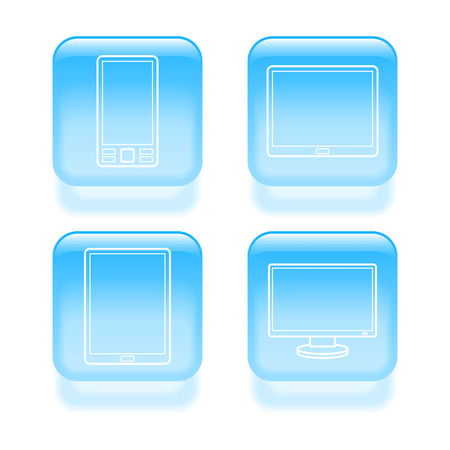 Glassy device icons. Vector illustration. Vector