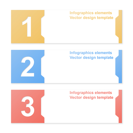 Cut-out numbered banners. Design template. Vector illustration.