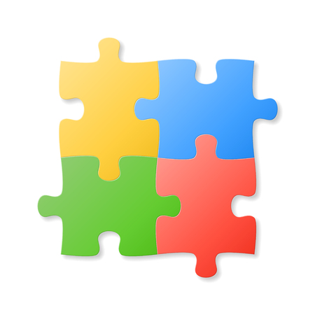 Colorful puzzle pieces on the white background. Vector illustration. Illustration