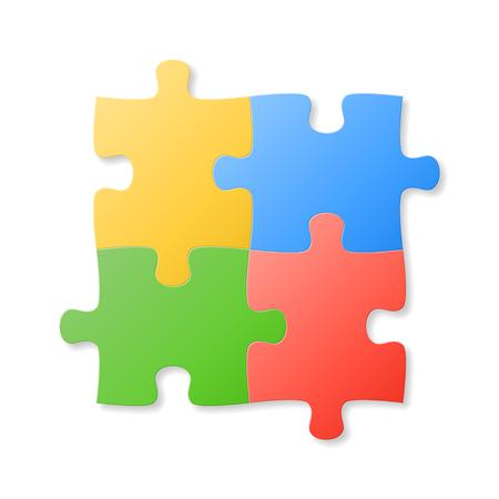 Kleurrijke puzzel stukjes op de witte achtergrond. Vector illustratie.