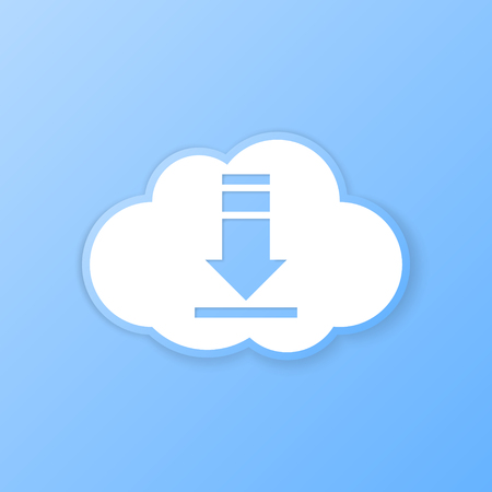paper cut out: Cloud download banner. Paper cut out. Vector illustration.