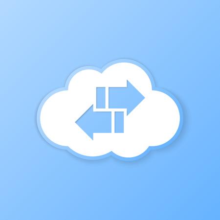 Cloud synchronize banner. Paper cut out. Vector illustration.