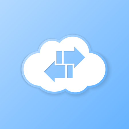 Cloud synchronize banner. Paper cut out. Vector illustration. Vector