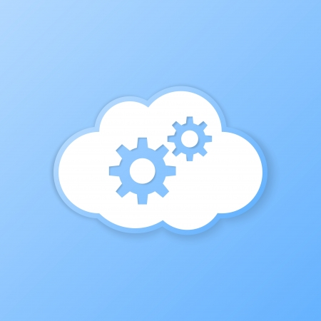 paper cut out: Cloud settings banner. Paper cut out. Vector illustration.