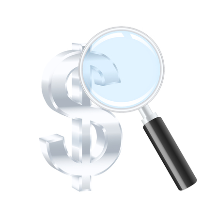 percent sign: Dollar sign and magnifying glass. Vector illustration.