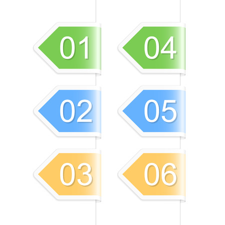 chapter: Numbered arrow labels. Vector illustration.