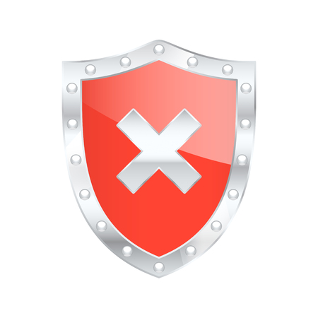 malicious software: Protected shield Risk. Vector illustration.