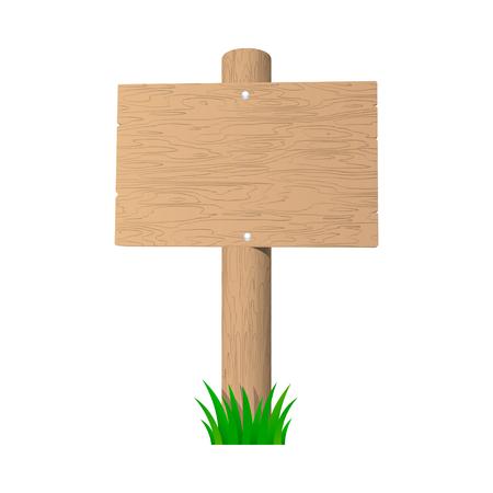 Blank wooden signboard. Vector illustration. Stock Vector - 22765969