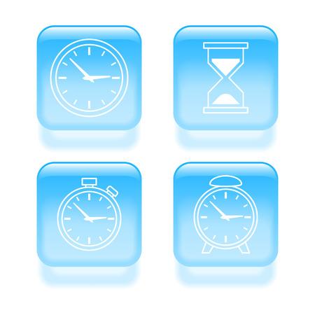 elapsed: Glassy time icons. Vector illustration.