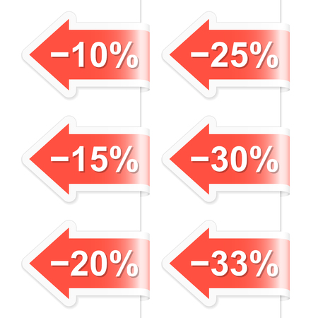 Arrow discount labels. Part one. Vector illustration. Vector