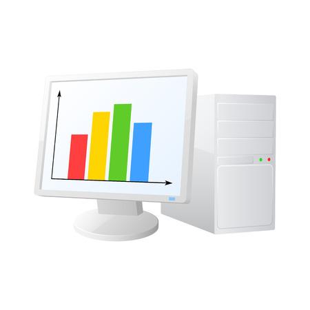 computer hardware: Desktop computer icon. Vector illustration. Illustration