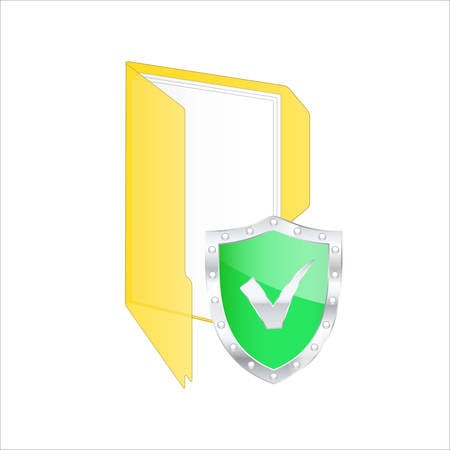 rootkit: Protected shield Safe. Vector illustration.