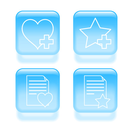 Glassy favorites icons. Vector illustration.