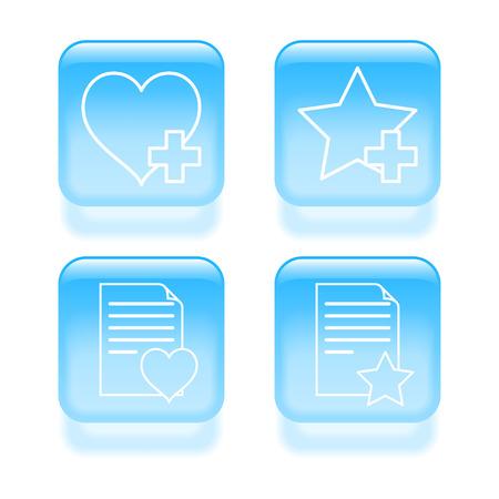 Glassy favorites icons. Vector illustration. Vector