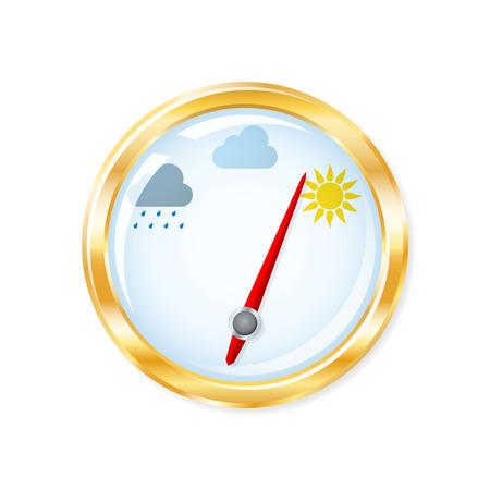 예측: 기압계 측정은 맑은 날씨를 나타냅니다. 벡터 일러스트 레이 션.