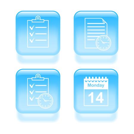 Glassy schedule icons. Vector illustration. Illustration