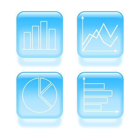 Glassy diagram icons. Vector illustration. Vector