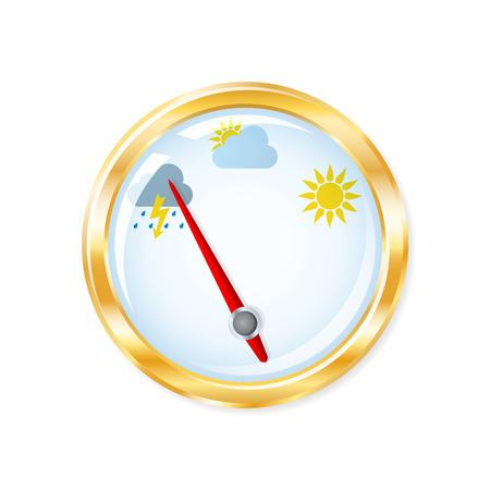 Barometer measuring indicates rainy weather. Vector illustration. Illustration