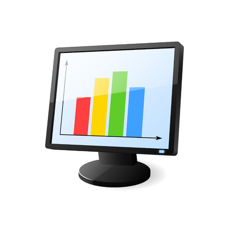 Desktop computer with diagram on screen. Vector illustration.