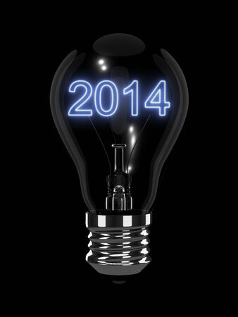 forthcoming: New Year 2014 light bulb. Isolated on the black background.