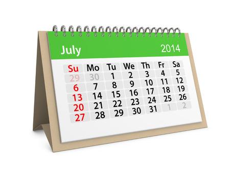 Maandelijkse kalender voor het nieuwe jaar 2014. Juli.