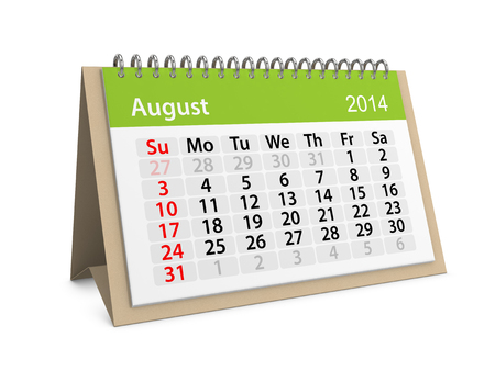 datebook: Monthly calendar for New Year 2014. August.