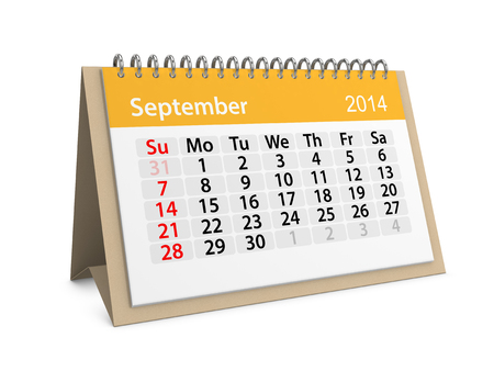 datebook: Monthly calendar for New Year 2014. September. Stock Photo
