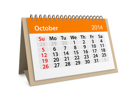 Maandelijkse kalender voor het nieuwe jaar 2014. Oktober.