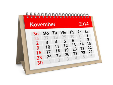 Monthly calendar for New Year 2014. November. photo
