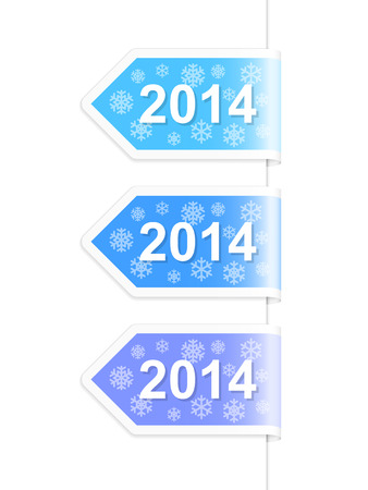 New Year 2014 labels. Vector illustration. Vector