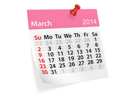 datebook: Monthly calendar for New Year 2014. March.