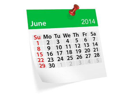 datebook: Monthly calendar for New Year 2014. June. Stock Photo