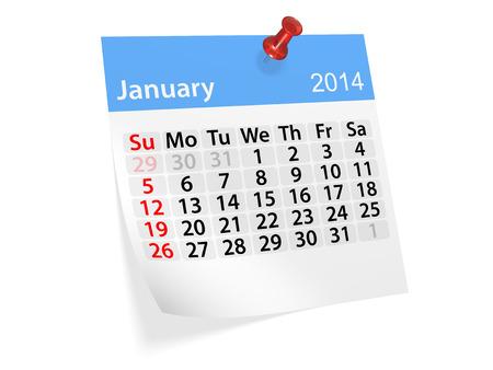 新年の 2014 年のカレンダー。1 月。